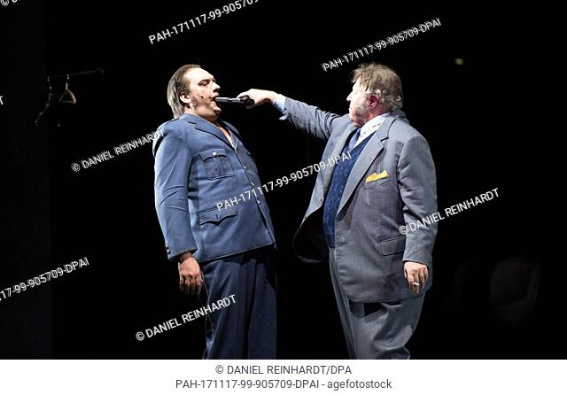 "Charly Hubner (Fritz """"Fiete"""" Honka, L) and Josef Ostendorf (Erich Denningsen) performing onstage during a photo rehearsal of the play """"The Golden..."