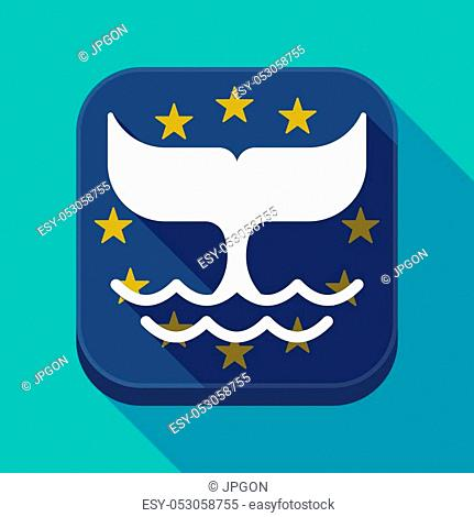 Illustration of a long shadow European Union flag square rounded corners button with a whale tail