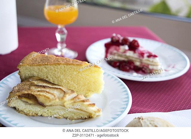 Tarts on plates breakfast table