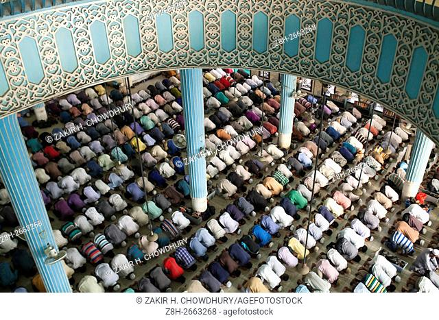 DHAKA, BANGLADESH - MAY 22 : Muslims pray at Baitul Mokarram Mosque during the one of five holy nights of the Muslim's holy Shab-e-Barat