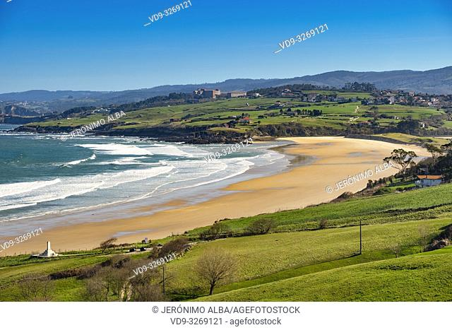 Meadow of fresh green grass. Oyambre beach, Comillas. Cantabrian Sea. Cantabria Spain. Europe