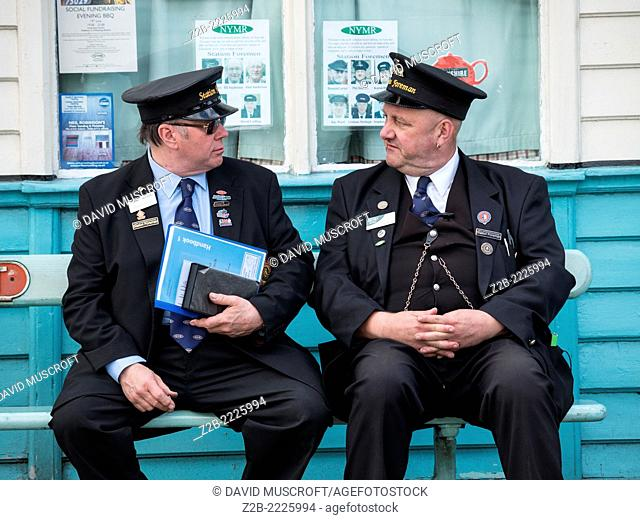 Station Masters at Grosmont station on the North Yorkshire Moors Railway, near Whitby, North Yorkshire, UK