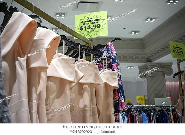 New York, NY/USA-December 15, 2018 Clearance dresses in the Lord & Taylor department store in New York on Saturday, December 15, 2018