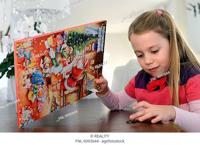 A little girl and her advent calendar