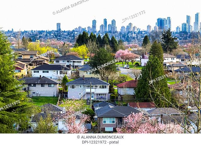 North Burnaby suburbs with a view of downtown Burnaby in the background as shown in early spring, a part of the greater Vancouver area and a focal point for...