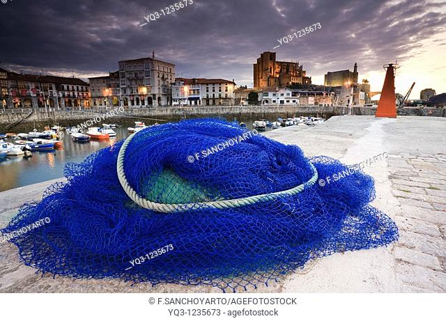 Fishing nets. Port of Castro Urdiales, Cantabria, Spain