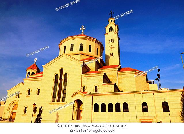 A large restored Christian church with clock and bell towers in Beirut's Centre Ville, Lebanon
