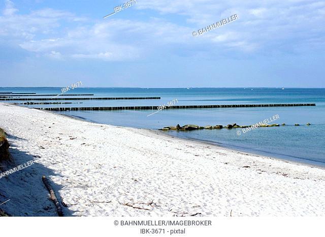 Hiddensee island Mecklenburg Vorpommern Germany western beach with breakwaters