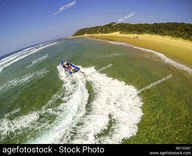 Aerial seascape. Thonga Beach Lodge. Mabibi. Maputaland. KwaZulu Natal. South Africa