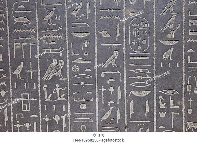 England, Europe, London, British Museum, Hieroglyphic Writing on the Sarcophagus of Ankhnesneferibre