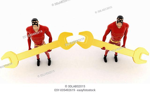 3d superhero holding golden wrench in hand concept on white background, top angle view