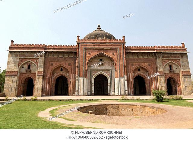 Mosque with dome, Qila-i-Kuna Mosque, Purana Qila, Delhi, India, March