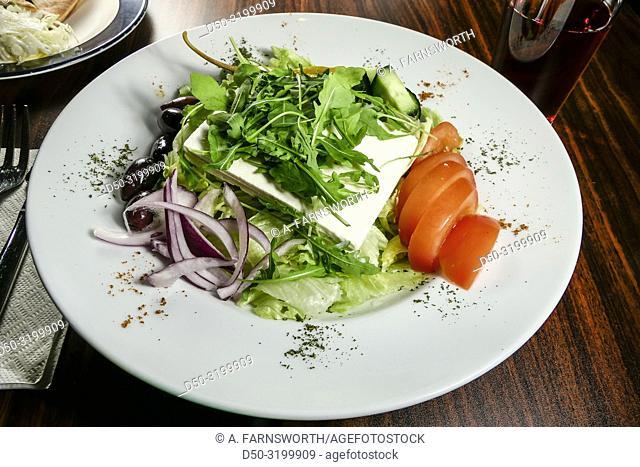 A greek sallad served in a restaurant. Stockholm, Sweden