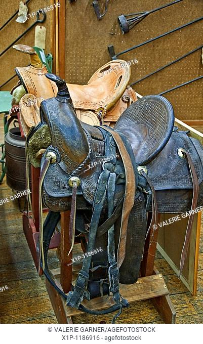This veritcal image depicts two retro leather horse saddles, one brown and the other a light tan color, on sawhorses with various iron brands in the background
