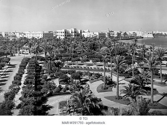 africa, libya, tripoli, landscape with the park prince umberto, 1930-40
