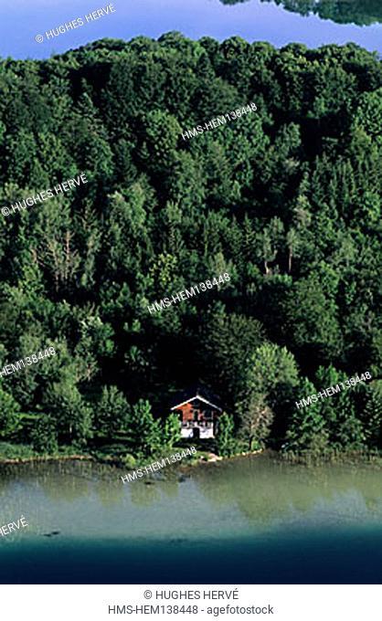 France, Jura (39), a woodenhouse on lake Maclus