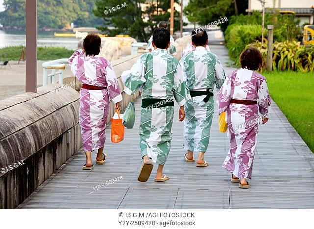 "People with typical """"Yukata"""" a summer kimono, at Ibusuki town, Kagashima prefecture, Japan"