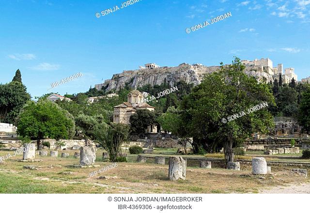 Ancient Agora with Byzantine Church, Athens, behind Acropolis, Athens, Greece