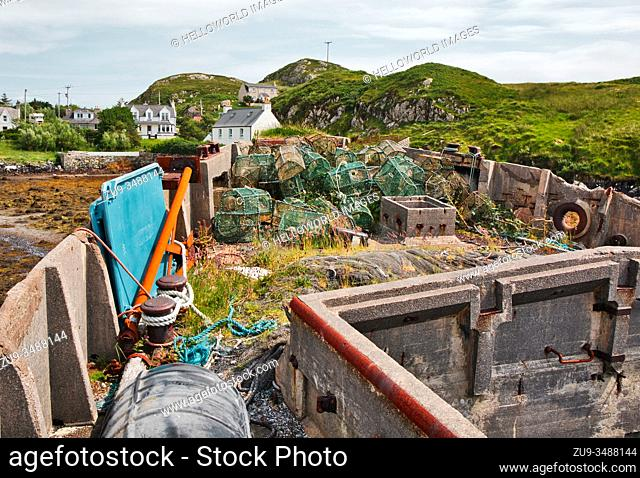 Concrete barge ship Cretetree now abandoned on the Isle of Scalpay, Outer Hebrides, Scotland. 180 feet long and built in Aberdeen in 1919 for hauling iron ore