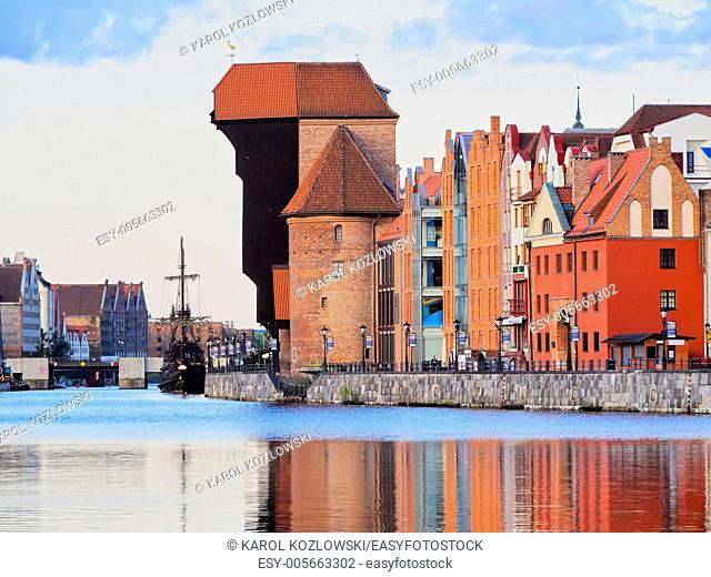 Port Crane - Gate in the old harbour of Gdansk, Poland