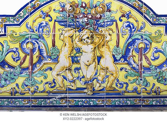 Ceramic tiles of three putti. Circa late 19th century. Malaga, Spain
