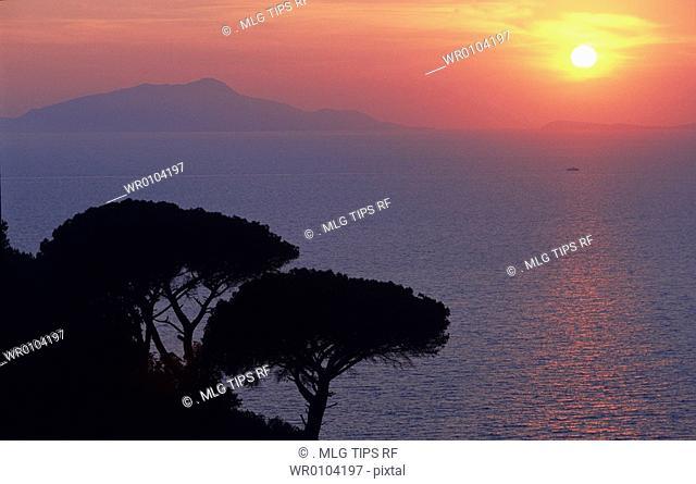 Italy, Campania, Ischia, Sunset on Ischia Island from Borgo dell' Annunziata