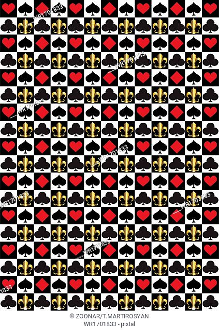 Black and white checkered background with card sui