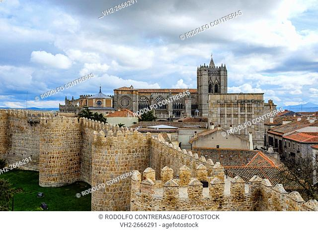 Avila wall and cathedral