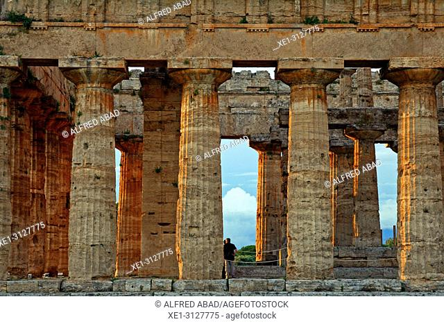 doric columns, Temple of Hera, archaeological park, Paestum, Italy