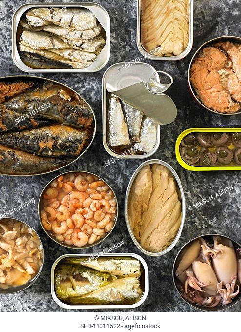 Assorted Canned Seafood, In Opened Cans, From Above