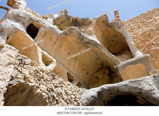 Tunisia - Chenini - Ghorfa in the village being restored