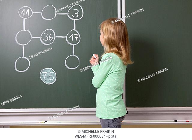 Schoolgirl at blackboard with arithmetic problem