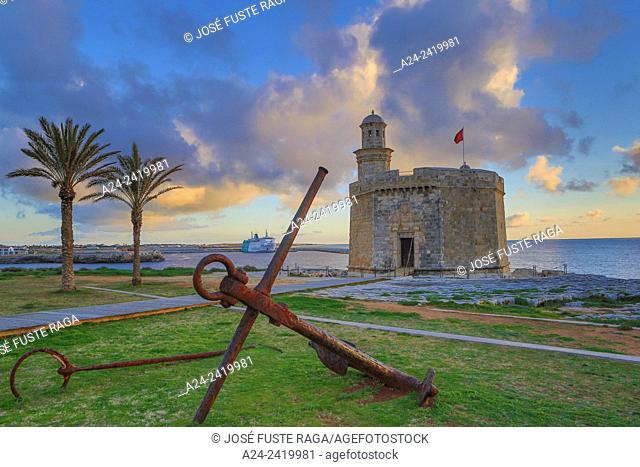 Spain, Balearic Islands, Menorca Island,Ciutadella City, Ciutadella Port, Sant Nicolau Castle. ,