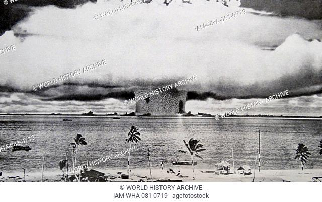 Photographic print of an atomic bomb at Bikini Atoll in Micronesia, the first underwater test. Dated 1946