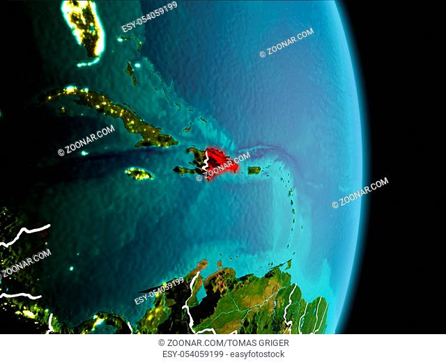 Satellite morning view of Dominican Republic highlighted in red on planet Earth with visible border lines and city lights. 3D illustration