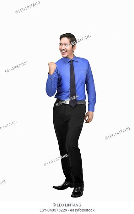 Image of motivated asian businessman standing isolated over white background