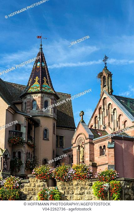 The Chapel of Saint Leon with the statue of Pope Leo IX in Eguisheim, Alsace, France, Europe