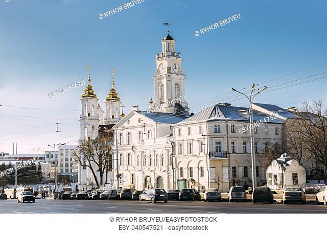 Vitebsk, Belarus. Traffic At Lenina Street And City Hall In Sunny Winter Day