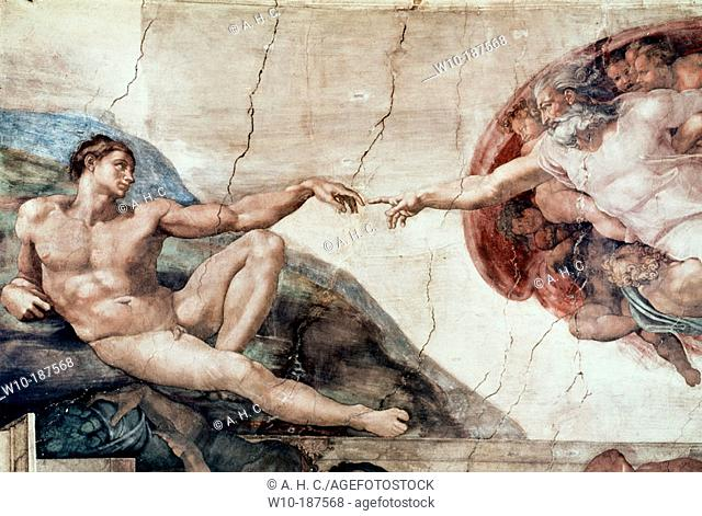 The Creation, by Michelangelo. Frescoes at the Sixtine Chapel vaults. Vatican City. Rome. Italy