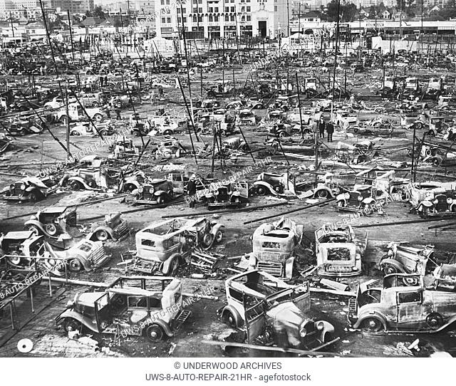 Los Angeles, California: 1932.A junkyard on LA's salvage yard row