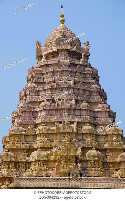 Carved Gopuram of Gangaikondacholapuram Temple. Thanjavur, Tamil Nadu, India. Shiva Temple has the biggest Lingam in South India