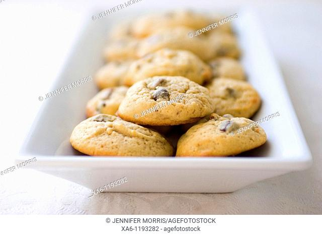 Chocolate chip cookies resting in a white rectangular plate