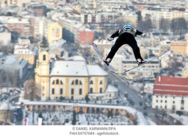 Anders Fannemel of Norway soars through the air during a training session for the third stage of the 63rd Four Hills Tournament ski jumping event in Innsbruck