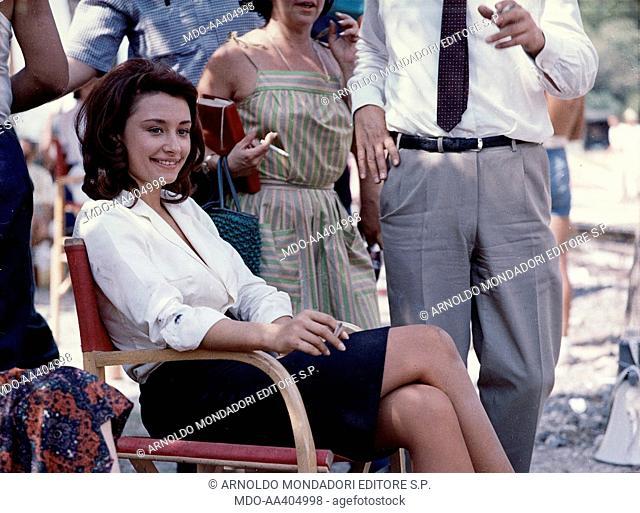 Raffaella Carrà on the set of Von Ryan's Express. Italian TV presenter, actress, singer and showgirl Raffaella Carrà (Raffaella Maria Roberta Pelloni) relaxing...