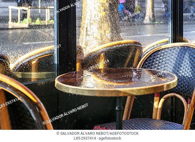 Cafe of Paris, on rainy day, Paris, France