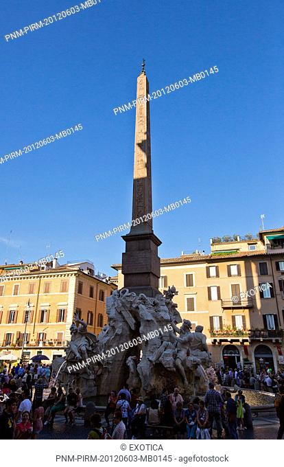 Fountain of the Four Rivers at Piazza Navona, Rome, Lazio, Italy