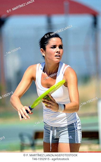 Beach tennis player in the Championship of Spain