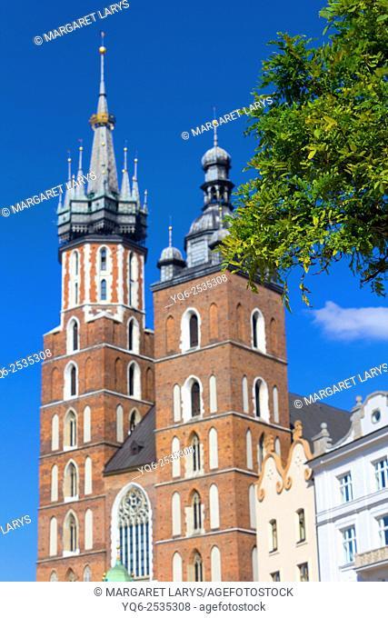 Historical Mariacki church in Krakow, old historical city in Poland, Europe