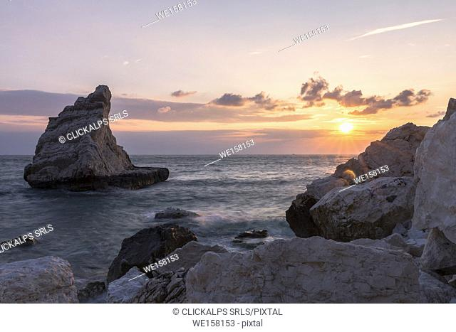 Rock sail in the Conero National Park, Ancona district, Marche, Italy