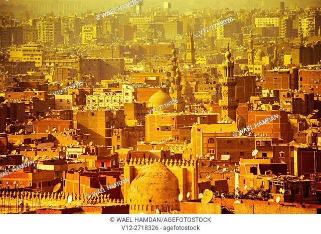 Higher view of Islamic Cairo, Cairo, Egypt